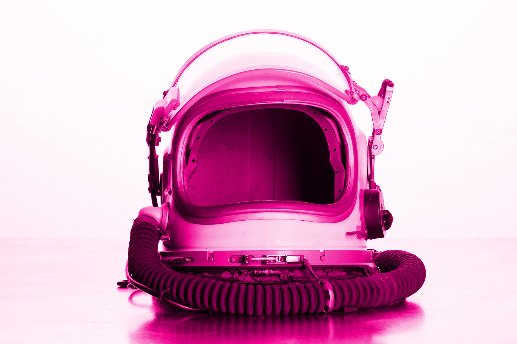 A Russian space helmet shot with hi-key lighting to represent the double bill play Complete Sex and Cosmica